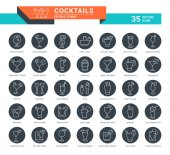 Set Vector Line Icons of Cocktails