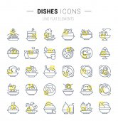 Set Vector Line Icons of Dishes