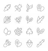 Set of Simple Icons of Greenery
