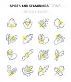 Set Vector Line Icons of Greenery