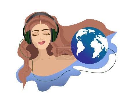 Illustration pour Une fille aux yeux fermés dans un casque écoute les sons de la planète Terre. Une fille aux longs cheveux bruns . - image libre de droit