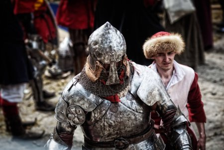 Knight on a medieval tournament. Medieval battle (reconstruction