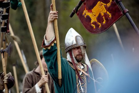 Warrior of medieval Europe. Medieval battle historical reconstruction