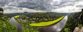 Elbe valley, Panoramic view from the Bastei over the Elbe Sandstone Mountain