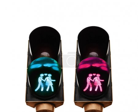 Lovely pedestrian traffic lights. Couple holding hands, not traditional values. sexual minorities