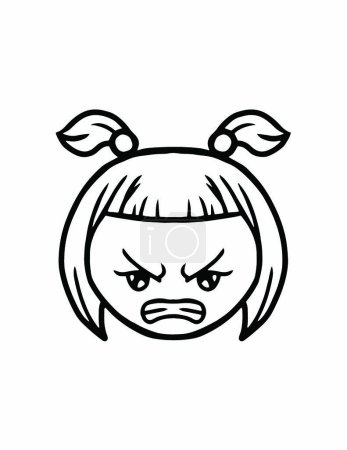 Simple thin line angry face icon vector...