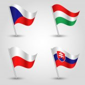 set of flags V4 visegrad group - czech republic hungary poland and slovakia - vector 3d waving flag with inclined metal stick