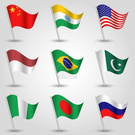 vector set of nine waving flags of states with biggest population on silver pole - icon of country china, india, united states of america, indonesia, brazil, pakistan, nigeria, bangladesh and russia
