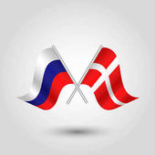Vector two crossed russian and danish flags on silver sticks - symbol of russia and denmark