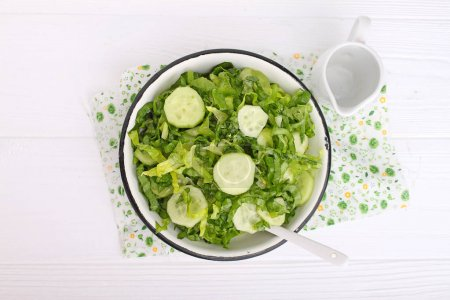 Salad of cucumbers and greens