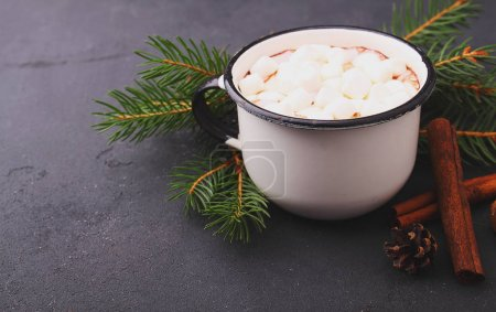 cup with cocoa and marshmallow