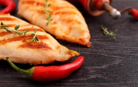 grilled chicken breast with pepper-caster