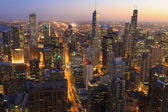 Aerial of Chicago skyline at night