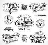 First Christmas as Family Baby Mr & Mrs Christmas Design Elements in Vintage Style on White Background Typography Template for Greeting Cards and Invitations