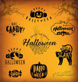 Halloween Design Elements for Parties Greeting Cards and Invitations