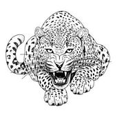Leopard face tattoo Vector illustration print