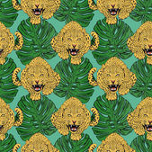 Vector leopards in colorful tropical flowers seamless background Animal illustration