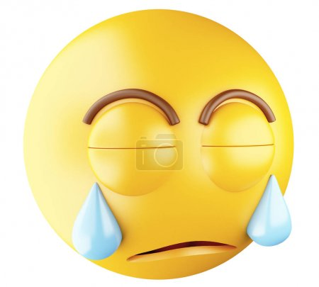 Photo for 3D Illustration. Sad emoji crying. Emoji symbol. Isolated white background. - Royalty Free Image