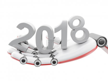 "3d Robotic hand showing ""2018"" word"