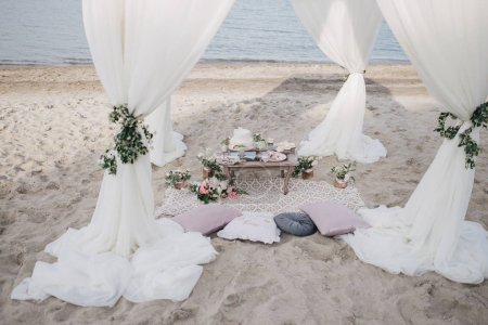 Wedding table setting on beach