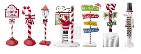 Photo for Set of Christmas Signs isolated on white background, Clipping path included - Royalty Free Image