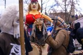 2017-02-25 Lithuania, Vilnius, Shrovetide, Happy people celebration shrovetide, winter go away, straw scarecrow, pancake week, begining spring party.