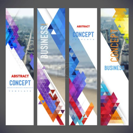 Vector set of banners, layout with colorful cityscape