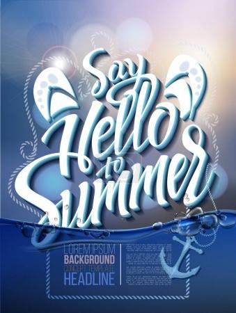 Hello summer poster inscription
