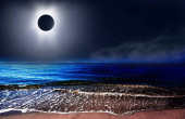 Total solar eclipse above the clouds and sea
