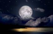 full moon in the skyup the night lake