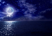 Fantastic full moon over the night sea, clouds and starry sky