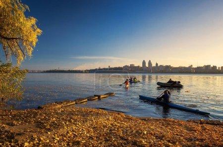 Autumn training on kayaks along the Dnepr.