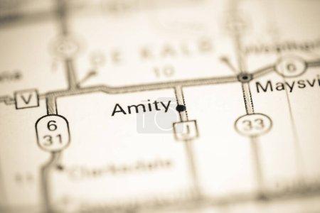Photo pour Amity. Missouri. États-Unis sur une carte géographique - image libre de droit