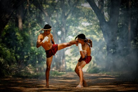 Photo for Muay thai or Thai boxing at Thailand - Royalty Free Image