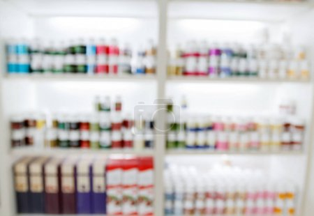 blurry medicine cabinet and store