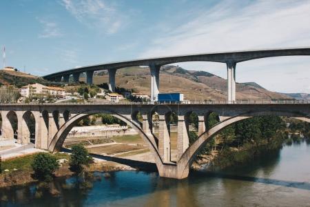 Bridges over Douro river in Peso da Regua in Portugal