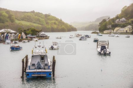 Looe river with boats
