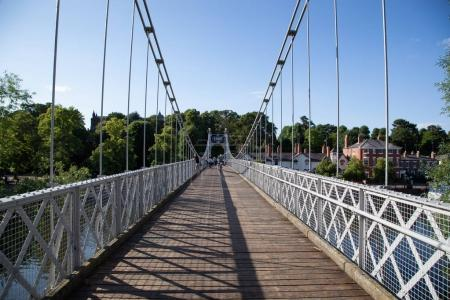Photo for Suspension bridge over the River Dee, Chester, Cheshire, England, UK - Royalty Free Image