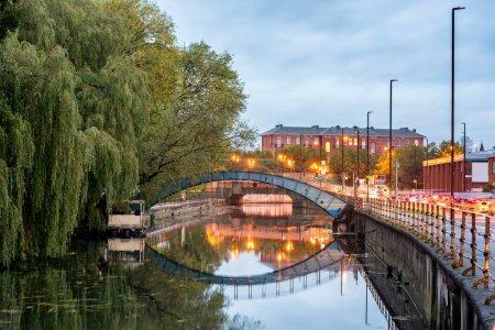 Metal bridge over canal
