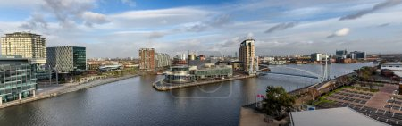Panoramic view Salford Quay Manchester UK