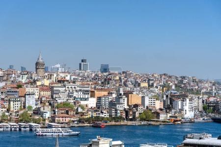Turkish steamboats and Istanbul city across Bosphorus.