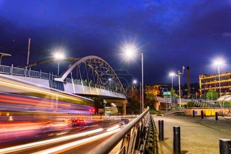 Park Square Bridge, also known as Supertram Bridge, Sheffield, United Kingdom.