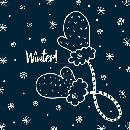 Illustration pour Jolies mitaines doodle. Carte postale vectorielle . - image libre de droit