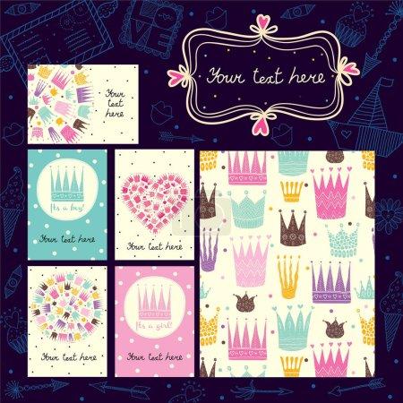 Princess crowns cards templates