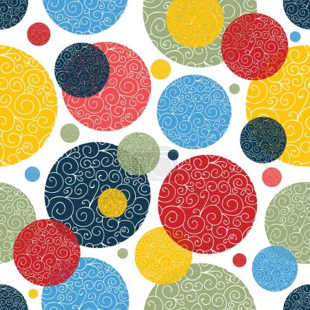 Illustration for Decorative polka dot pattern. Vector seamless pattern. - Royalty Free Image
