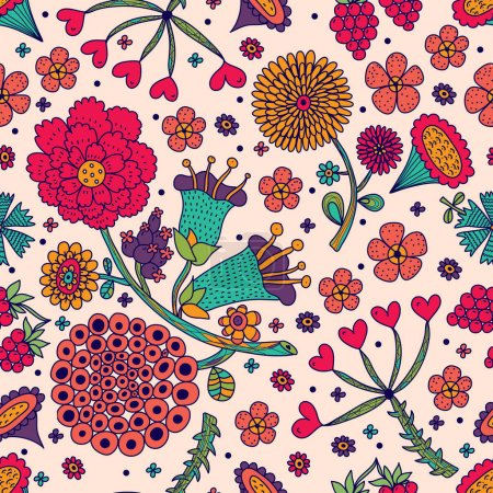 Illustration for Flowers motif. Vector seamless pattern - Royalty Free Image