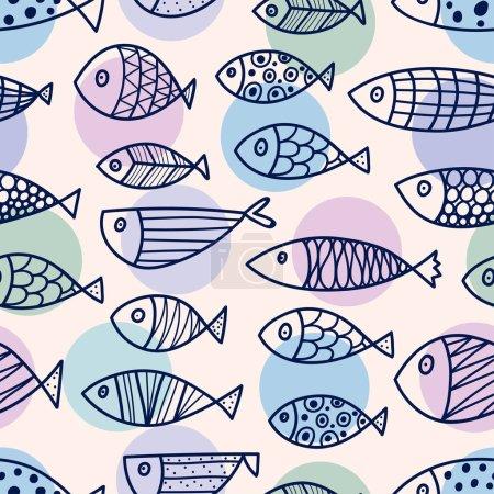 Illustration pour Illustration vectorielle de modèle sans couture de poisson - image libre de droit
