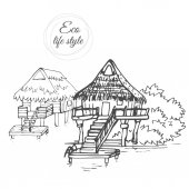 A wooden houses on the water with a thatched roof in the style of a sketch