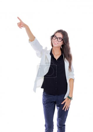 Business woman point finger at you looking at camera. Isolated on white background. Business woman