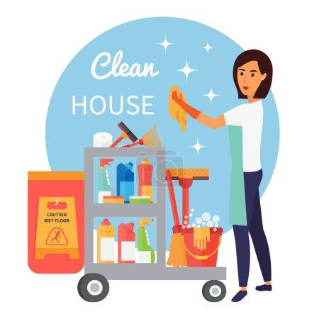 Illustration pour Personnel de nettoyage, concierge avec chariot. Fournitures de nettoyage et outils d'équipement ménager. Service de nettoyage ensemble d'icônes vectorielles - image libre de droit